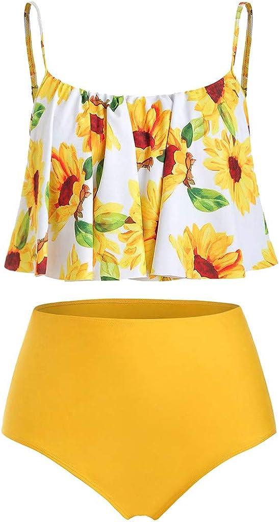 Women Padded Swimwear Plus Size Ruffled Sunflower Print Swimsuit Tankini Set