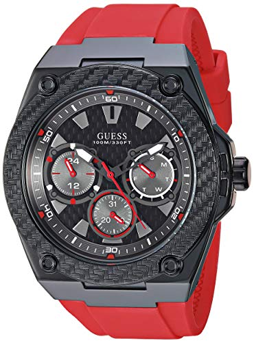GUESS Relógio masculino de quartzo japonês de aço inoxidável com pulseira de silicone, vermelho, 21,8 (modelo: U1049G6)