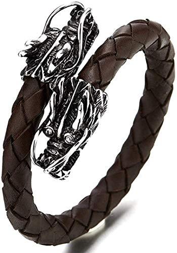 Ahuyongqing Co.,ltd Pulsera Cruzada de Cuero Trenzado marrón para Hombre elástico Ajustable con dragón Fabricado en Acero Inoxidable