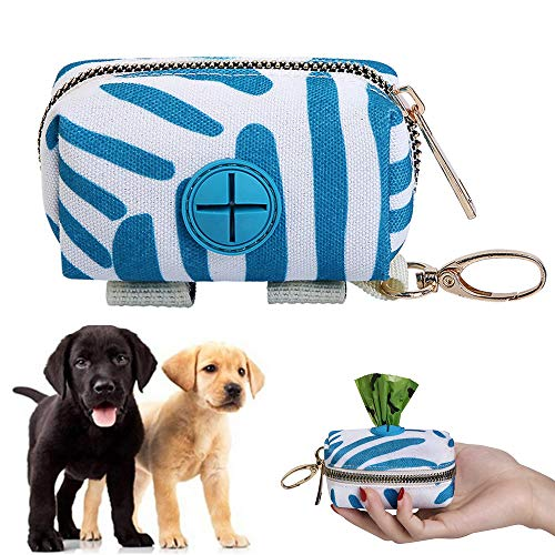 LWZko Bolsa de Caca Perro Mascota, Dispensador Bolsas Perro, Dispensador Bolsas para Excrementos, Dispensador Bolsas de Basura para Caca Bolsa con Cremallera para Cualquier Correa Perro (Azul)