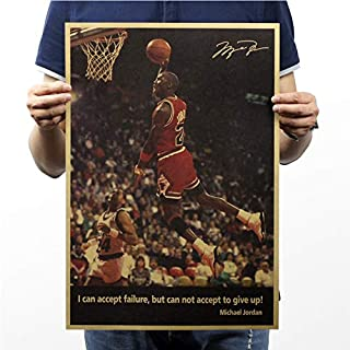 KGIDK Michael Jordan NBA MVP Retro Paper Poster Bar Room Decorate I Can Accept Failure, But Can Not Accept to Give Up! 51X35.5Cm