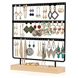 QILICHZ Earring Stand Simple Ear Stud Holder 3-Tier Earring Holder Decorative Jewelry Holder Display Rack Jewelry Stand Display with Wooden Tray/Dish for Earrings Necklace Bracelet Rings 69 Holes