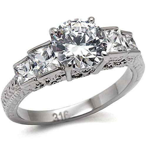 Stainless Steel Round Cubic Zirconia Solitaire w Princess CZ Accent Wedding Ring