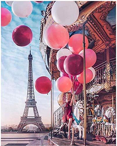MOL 5D DIY diamant schilderij scène Eiffeltoren ballon wooncultuur kruis titch kit volledige ronde boren borduurwerk kunsthandwerk versturen geschenken 50x70cm