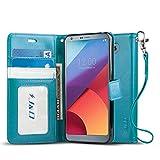 J&D Compatible para LG G6 Funda, [Protección de Cartera] [Soporte Plegable] Funda Pesada Resistentes Billetera para LG G6 Funda Cuero - Turquesa