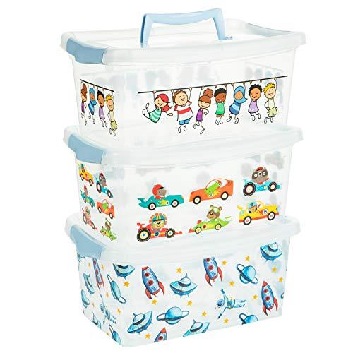 2friends Scatola portaoggetti per bambini con coperchio, 3 pezzi, blu, con manico e chiusura a scatto, 29 x 19,3 x 13 cm, 4 litri, in plastica, Made in EU