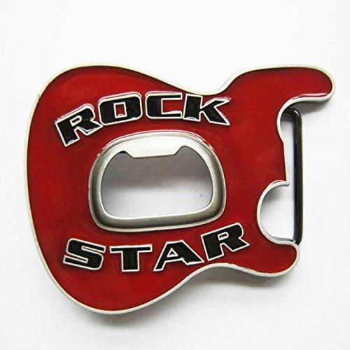 Happy Star® rojo estrella de rock metal hebilla de cinturón con abridor de botella de cerveza