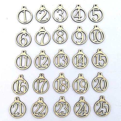 Deanyi Ornamento de la Navidad de la Novedad de la Vendimia 1-25 de Madera de Navidad Cuenta atrás Calendario de Adviento del número de DIY Etiquetas del Regalo para el Dormitorio celebración de dí