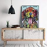 Lienzo arte de pared abstracto colorido perro pintura carteles impresiones arte de pared moderno imagen de animal para sala de estar decoración del hogar 60x80 cm sin marco