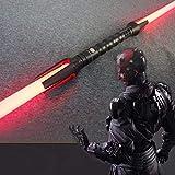 GYX Star Wars Lightsaber cos Accesorios Espada de Doble Cabeza con Efecto de Sonido Flash de Espada láser Espada de Doble Filo Juguete Mango Plateado (185 cm de Largo) 3 Garras (pulidas)