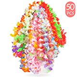 Yidaxing Hawaiian Lei Flor Guirnalda, Tropical Hawaiian Luau Collar de Flores Collares de Colores Guirnaldas de Verano para Playa Tema Fiesta Favores (50 Piezas)