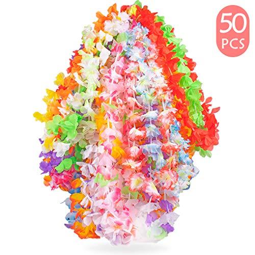 Yidaxing 50 Stück Tropische Hawaii Luau Blume Leis Halsketten Hawaiikette Ideal für Kostüm, Strand Motto Luau Party Dekoration Geschenke, 50 Farben