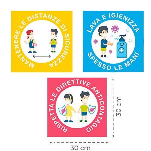 Set 6 Adesivi, Cartelli, Segnaletica Distanza Sociale, Scuola, Asilo, Bambini, Regole Sicurezza - iClue