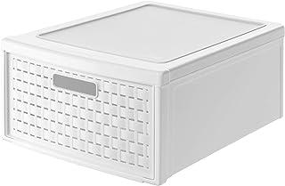 Rotho Country Boîte à Tiroirs 19,2L avec 1 Tiroir en Rotin, Plastique (PP) sans BPA, Blanc, groß/19,2L (45,0 x 34,0 x 20,0...