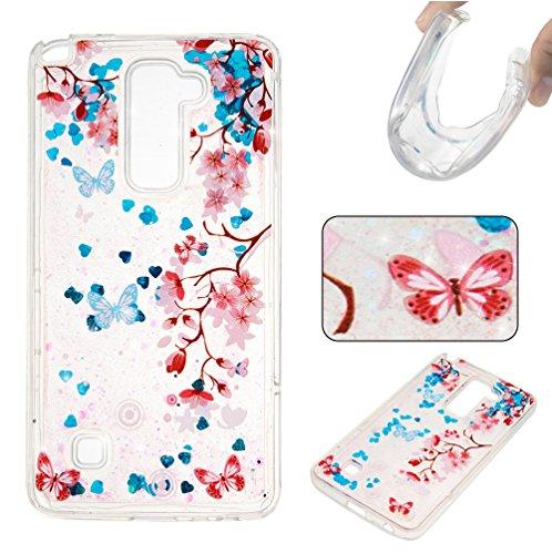 """LG Stylus 2 Hülle, CaseLover TPU Weich Silikon Modisch Case für LG G4 Stylus 2 / LG G Stylo 2/ LS775 Pailletten Liquid Floating Quicksand Sparkle LG LS 775 5.7"""" Schutzhülle Cover, Blau"""