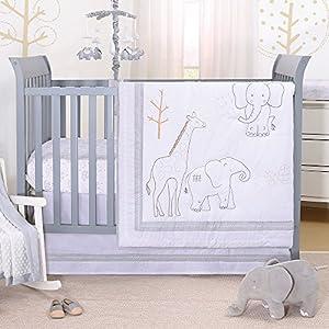 Tons of Love Jungle Animal 3 Piece Baby Crib Bedding Set – Elephants & Giraffe