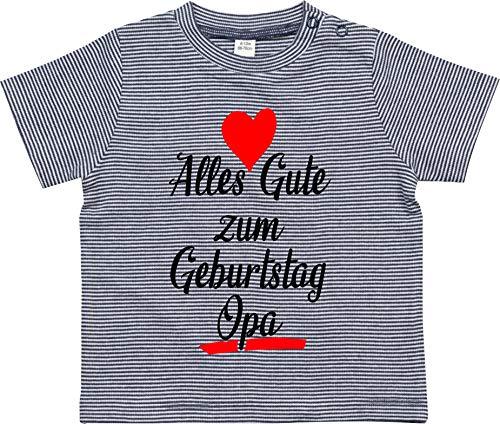 Kleckerliese Baby Kinder T-Shirt Sprüche Nicki gestreift Motiv Alles Gute zum Geburtstag Opa, NavyWhite, 12-18 Monate