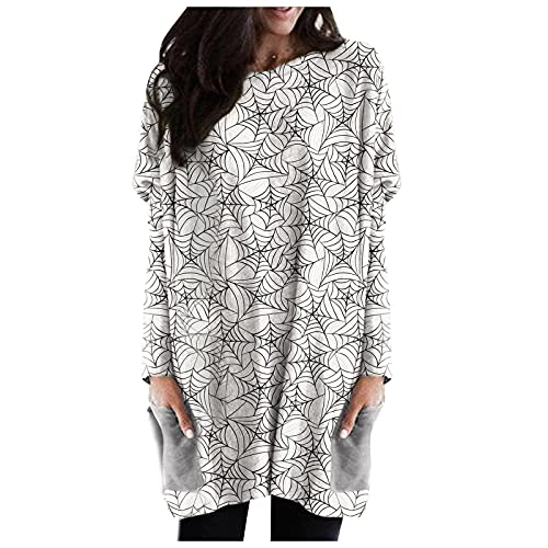 Letdown Women's Halloween Sweatshirts Round Neck Long Sleeve Pumpkin Print Casual Pullover Tops with Pocket Party Mini Dress White
