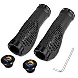 TOPCABIN Bike Grips,Ergonomic Design Bicycle Grips Widen Holding Surface Rubber Bike Handlebar Grips with Aluminum LockGrips for Bike Mountain Road MTB