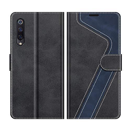 MOBESV Handyhülle für Xiaomi Mi 9 Se Hülle Leder, Xiaomi Mi 9 Se Klapphülle Handytasche Hülle für Xiaomi Mi 9 Se Handy Hüllen, Modisch Schwarz
