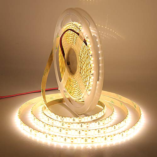 XUNATA 16.4FT LED Strip Lights, 12V 600 Units SMD 5630 Super Bright LED Rope Tape Ribbon Light Strips, Non-Waterproof for Ceiling Home Kitchen Bedroom Decoraion(Warm White)