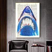 """抽象的な壁アートキャンバスジョーズ魚の写真キャンバスにアニマルプリントポスターとプリントリビングルームの家の装飾23.6"""" x31.4""""(60x80cm)フレームレス"""