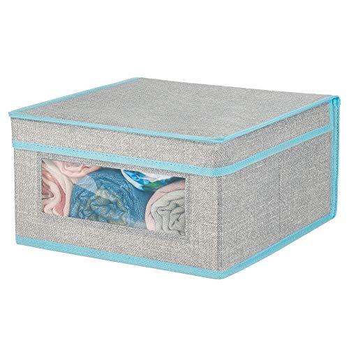 mDesign Caja de tela apilable con ventana transparente – Caja con tapa mediana para guardar prendas o sábanas – Ideal como organizador de armarios o caja para guardar ropa – gris y verde azulado