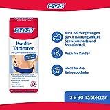 SOS Kohle-Tabletten, Kohletabletten bei Durchfallerkrankungen, Vergiftungen durch Nahrungsmittel, Durchfall Tabletten ideal für die Reiseapotheke, 2 x 30 Tabletten - 3