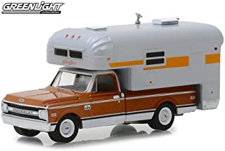 1970 Chevy C-10 Cheyenne with Silver Streak Camper, Brown and Silver - Greenlight 30023/48 - 1/64 Scale Diecast Model Toy Car