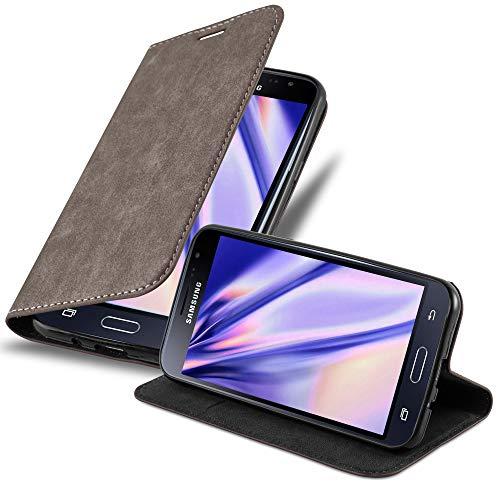 Cadorabo Hülle für Samsung Galaxy J3 2016 (6) - Hülle in Kaffee BRAUN – Handyhülle mit Magnetverschluss, Standfunktion & Kartenfach - Hülle Cover Schutzhülle Etui Tasche Book Klapp Style