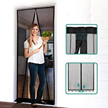 "Homitt Magnetic Screen Door with Heavy Duty Mesh Curtain and Full Frame Hook&Loop, Hands Free, Pet and Kid Friendly, 39"" x 83"", Black"