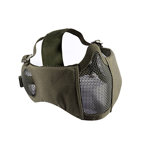 """OneTigris 6"""" Foldable Half Face Airsoft Mesh Mask with Ear Protection, Military Tactical Lower Face Protective Mask (OD Green)"""