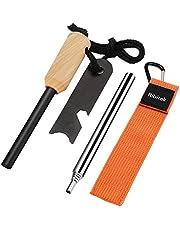 火打ち石 + 火吹き棒 Ribitek メタルマッチ ファイヤースターター 火吹き 大きいサイズのマグネシウム棒 コンパクトなひふき棒 キャンプ/BBQ/緊急災害などに対応