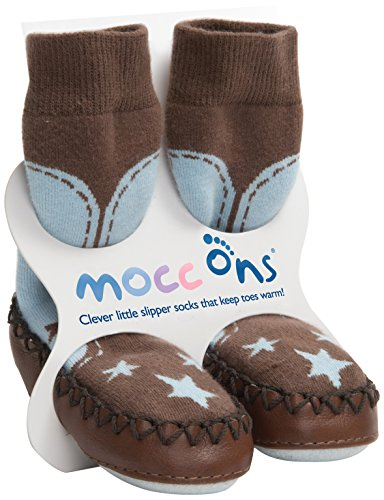 COWBOY BABY MOCCASINS-MOCC ONS LEATHER SOLED SHOES/SLIPPERS - blue/brown (12-18 mths)