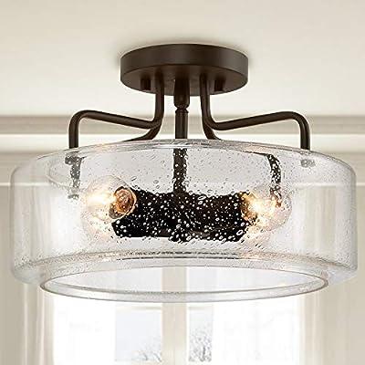 "KSANA Semi Flush Mount Ceiling Light, 4-Light Black Flush Ceiling Light with Seeded Glass Shade for Kitchen, Hallway, W12"" x H8"""