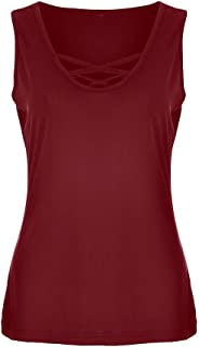 MURTIAL Women's Vest Sleeveless T-Shirts Casual Solid Cross Sleeve Blouse Tank Top Plus Size
