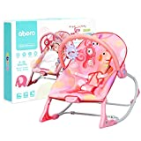 GYMAX Baby Swing Bouncer, Infant Adjustable Rocking Chair with Soothing Vibrations, Music Box and Toys, Newborn Rocker Seat for 0-36 Mouths (Pink)