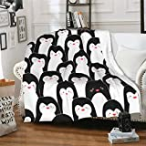 CUAJH Cute Penguins Blanket 50'x60', Lightweight Soft Flannel Fleece Throw Blanket for Bed Couch Sofa Chair Office