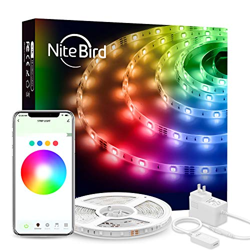 Smart WiFi LED Strip Lights Works with Alexa Google Home, NiteBird 16.4Ft App Controll Light Strips, Music Sync RGB 5050 Brighter 16 Million Colors, Waterproof for Bedroom, TV, Kitchen, Party