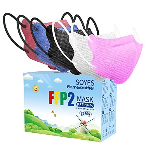 20 Stück Bunte FFP2 Maske CE Zertifiziert - FFP2 Masken Farbe Schwarz Rot Blau Rosa Weiß 4 lagig Staubschutzmasken einzeln verpackt