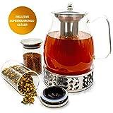 JOYTASTE Teekanne Glas mit Stoevchen Set - Designer Tee-Equipment | Herausnehmbarer Siebeinsatz Edelstahl - 1.5 Liter Füllvolumen - inklusive Aufbewahrungsgläser - jetzt Bilder ansehen