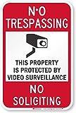SmartSign-K-7459-EG 'No Trespassing - Video Surveillance, No Soliciting' Sign | 12' x 18' 3M Engineer Grade Reflective Aluminum, Black/Red on White