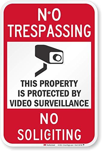 "SmartSign-K-7459-EG ""No Trespassing - Video Surveillance, No Soliciting"" Sign | 12"" x 18"" 3M Engineer Grade Reflective Aluminum, Black/Red on White"