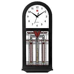 Bulova Harley Bradley C4836 Frank Lloyd Wright Thistle in Bloom Chiming Wall Clock, 15.75, Ebony