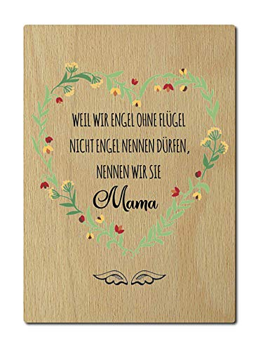 Interluxe houten postkaart Omdat wij engel zonder vleugel Mama grootte: DIN A6, 105 x 148 mm, 4 mm dik spreuk verjaardag Moederdag