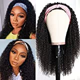UNice Hair 10A Afro Kinky Curly Half Wig Human Hair for Black Women 100% Unprocessed Brazilian Virgin Hair Glueless Kinky Curly Human Hair Wig Wear and Go Natural Color 18inch