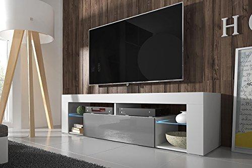 Hestia - Meuble TV (140 cm, Blanc Mat/Fronts Gris Brillant avec l'éclairage LED)