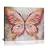Rustic Butterfly Canvas Wall Art Pink and Gold Giclee Print Animal Picture Wildlife Photo for Living Room Women Gift Modern Home Art Ready to Hang 16'x20'