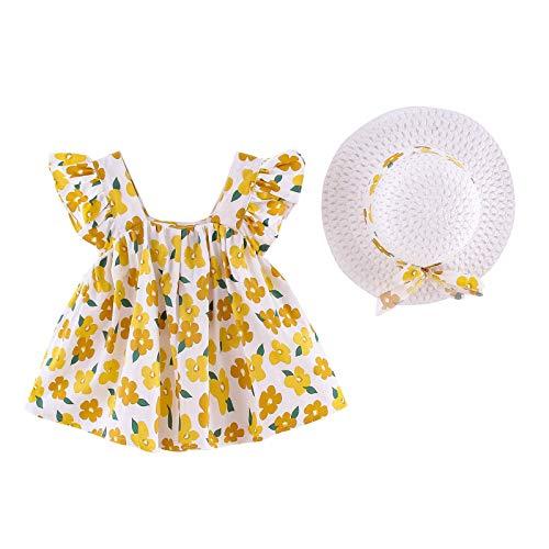 Vestido de niña vintage sin mangas de algodón para niña, con estampado de flores, vestido de princesa, vestido de una pieza + sombrero de paja. amarillo 12-24 meses