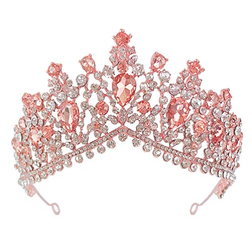 FRCOLOR Diadema Nupcial de Diamantes de Imitación con Corona de Oro Rosa...